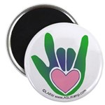 Green/Pink Heart ILY Hand Magnet