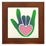 Green/Pink Heart ILY Hand Framed Tile