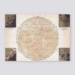 Vintage Map of The Moon (1898) 5'x7'Area Rug