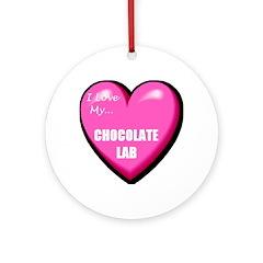 I Love My Chocolate Lab Ornament (Round)