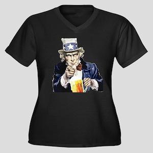 I want... Women's Plus Size V-Neck Dark T-Shirt
