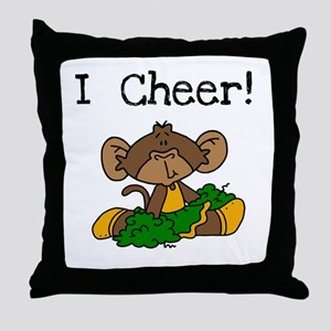 Monkey Cheerleader Green and Gold Throw Pillow