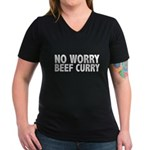 No Worry Beef Curry Women's V-Neck Dark T-Shirt