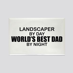 World's Best Dad - Landscaper Rectangle Magnet