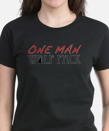 One Man Wolf Pack - Red Women's Dark T-Shirt