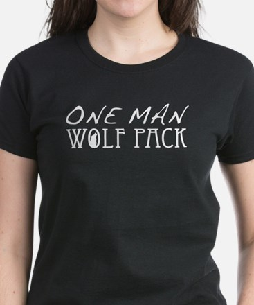 One Man Wolf Pack - Black Women's Dark T-Shirt
