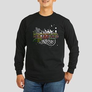 Buchanan Tartan Grunge Long Sleeve Dark T-Shirt