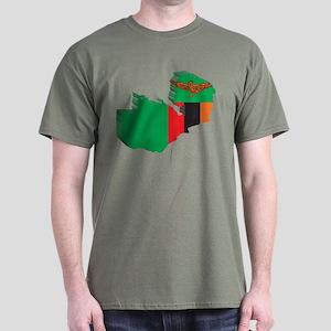 3D Zambia Map Dark T-Shirt