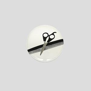 Scissors and Comb Mini Button