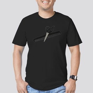 Scissors and Comb Men's Fitted T-Shirt (dark)