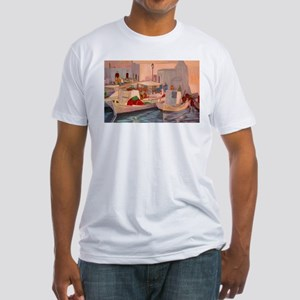 fishing boats in naoussa Fitted T-Shirt