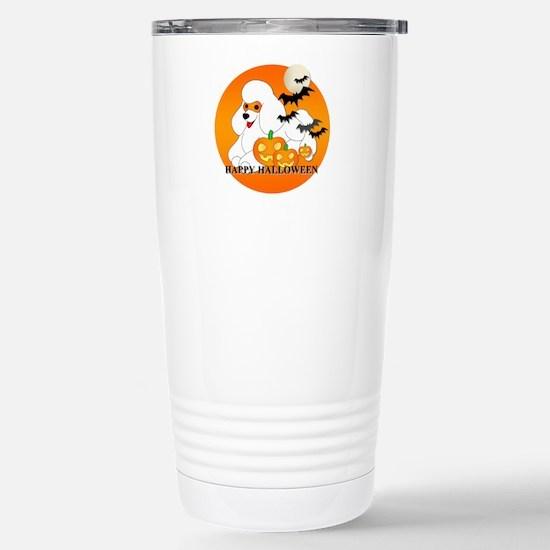White Poodle Stainless Steel Travel Mug