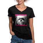 Shih Tzu Heaven Women's V-Neck Dark T-Shirt
