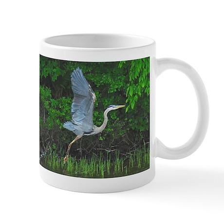 Heron taking flight Mug