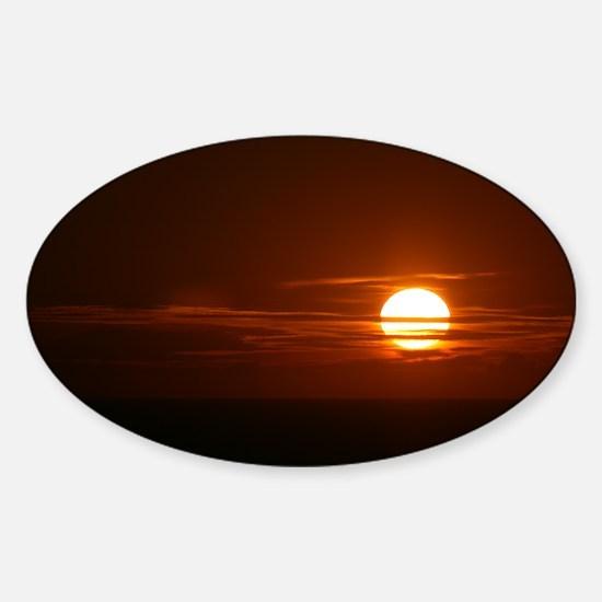 Burning Sun Sunrise Beach Sticker (Oval)