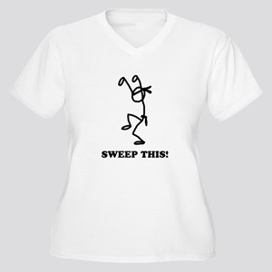 Sweep this! (light) Women's Plus Size V-Neck T-Shi