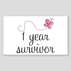 1 Year Breast Cancer Survivor Sticker (Rectangle)