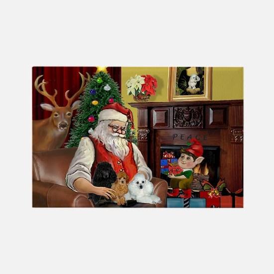 Santa's Poodle Trio Rectangle Magnet