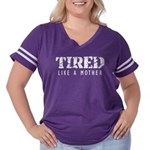Tired like a Mother Women's Plus Size Football T-S