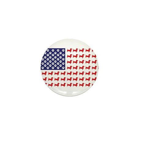 Dachshund Patriotic Flag Mini Button (100 pack)