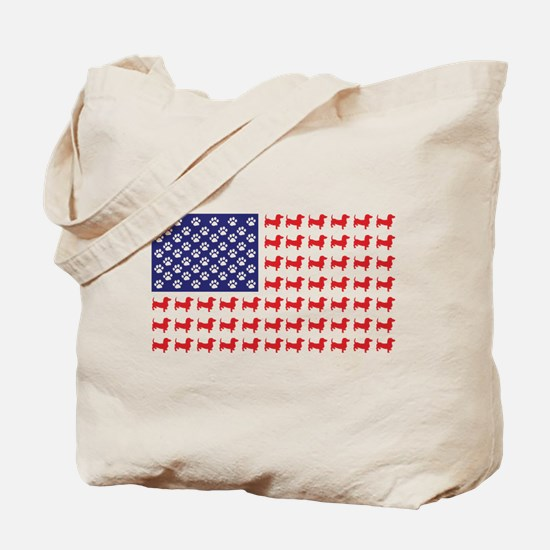 Dachshund Patriotic Flag Tote Bag