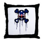 Australia Punk Skull Throw Pillow