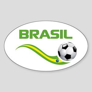 Soccer BRASIL Sticker (Oval)