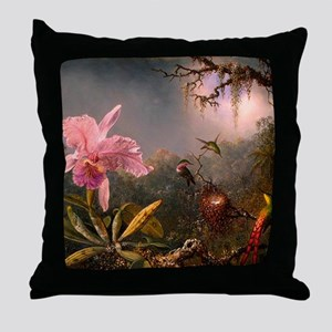 Victorian Orchid with Humming Throw Pillow