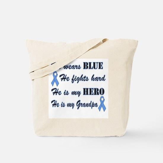 He is my Grandpa Light Blue H Tote Bag