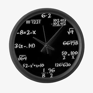 Large Black Chalkboard Math Wall Clock