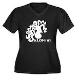 SALON 61 Women's Plus Size V-Neck Dark T-Shirt