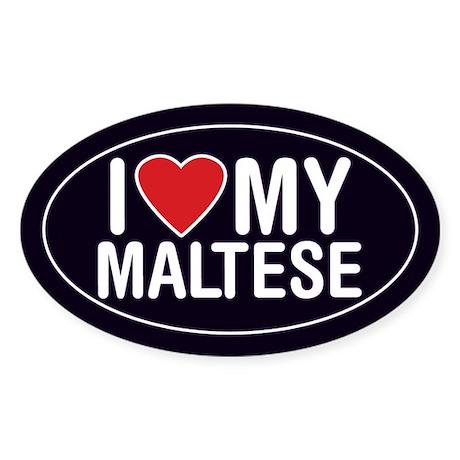 I Love My Maltese Oval Sticker/Decal