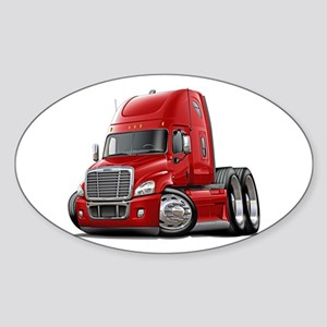 Freightliner Red Truck Sticker (Oval)