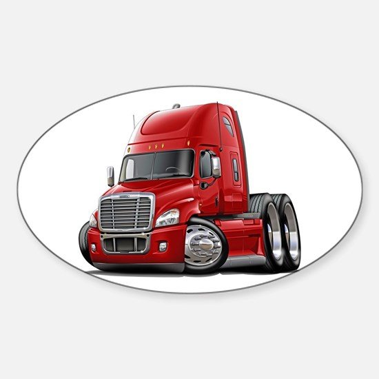 Freightliner Red Truck Sticker (Oval)