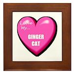 I Love My Ginger Cat Framed Tile