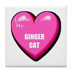 I Love My Ginger Cat Tile Coaster