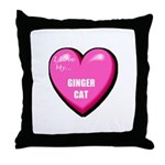 I Love My Ginger Cat Throw Pillow