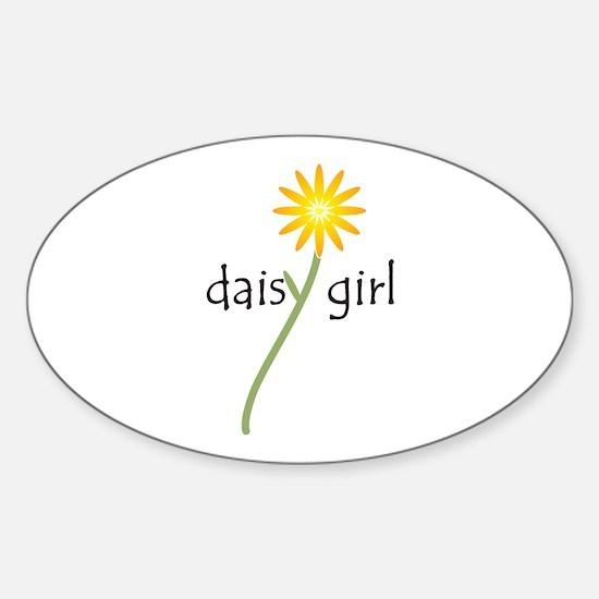 Yellow Daisy Girl Sticker (Oval)