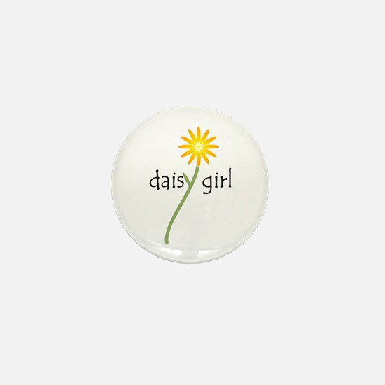 Yellow Daisy Girl Mini Button