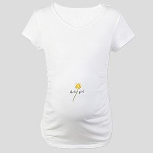 Yellow Daisy Girl Maternity T-Shirt