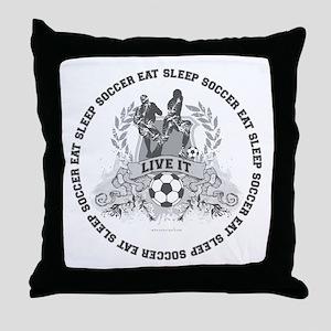 Eat Sleep Soccer Throw Pillow