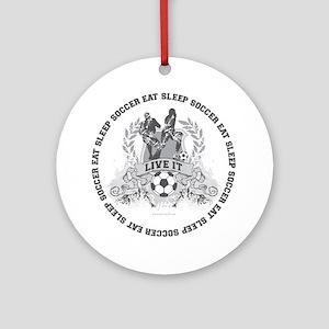 Eat Sleep Soccer Round Ornament