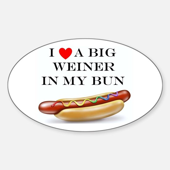 I Love Weiner Sticker (Oval)