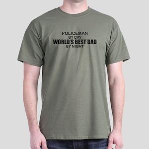 World's Best Dad - Policeman Dark T-Shirt