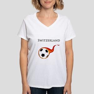 Switzerland Soccer Women's V-Neck T-Shirt