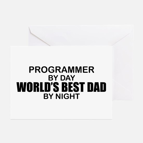 World's Best Dad - Programmer Greeting Cards (Pk o