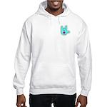 Aqua Dotty Love Hand Hooded Sweatshirt