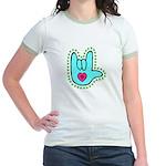 Aqua Dotty Love Hand Jr. Ringer T-Shirt