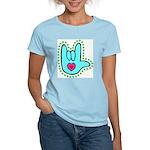 Aqua Dotty Love Hand Women's Light T-Shirt