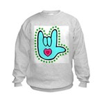 Aqua Dotty Love Hand Kids Sweatshirt